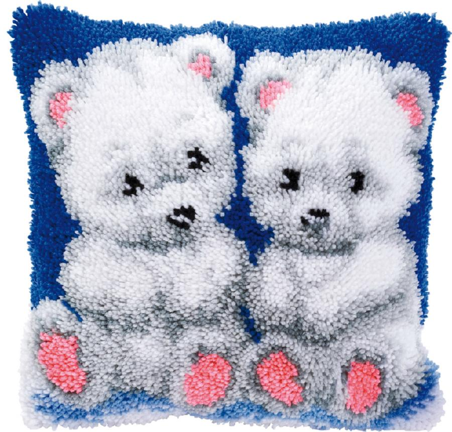 PN-0014150 Набор для вышивки подушка Белые мишки (Cute Bears), 40х40, ковровая техника Vervaco. Catalog. Kits