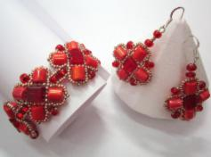 Set of earrings and bangle - Corals and rubies
