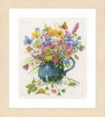 "PN-0164074 Counted cross stitch kit LanArte ""Flowers in vase"""