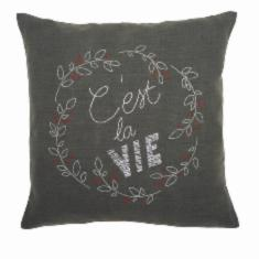 "PN-0156052 Vervaco Embroidery Cushion ""C'est La Vie"""