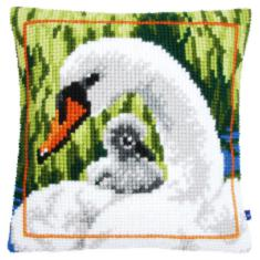 "PN-0147361 Vervaco Cross Stitch Cushion ""Swan and Cygnet"""
