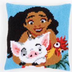 "PN-0168026 Vervaco Cross Stitch Cushion Disney ""Vaiana Moana Adventures in Oceania"""