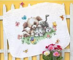 "70-73882 Counted cross stitch kit (blanket) DIMENSIONS ""Pet Friends"""