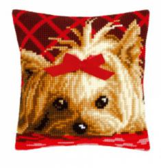 "PN-0146989 Vervaco Cross Stitch Cushion ""Yorkshire with bow"""