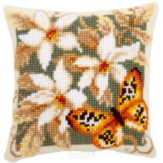 "PN-0148254 Vervaco Cross Stitch Cushion ""Orange Butterfly"""