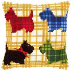 "PN-0150016 Vervaco Cross Stitch Cushion ""Colourful doggies with bow"""