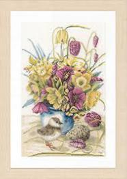 "PN-0169671 Counted cross stitch kit LanArte ""Flowers and Lapwing"""