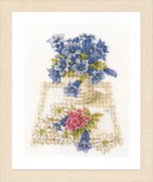 "PN-0169670 Counted cross stitch kit LanArte ""Blue flowers"""