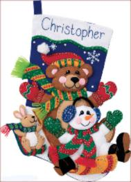 "08145 Felt applique kit DIMENSIONS ""Toboggan Trio. Stocking"""