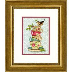 "70-65171 Counted cross stitch kit DIMENSIONS ""Stacked Tea Cups"""