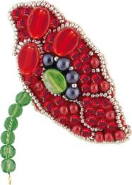 "BP-175 Beadwork kit for creating broоch Crystal Art ""Red petals"""
